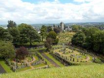 Stirling Castle Cementery, vista da parte superior do castelo fotos de stock