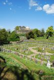 Stirling Castle from cemetry at Church of the Holy Rude stock image