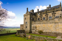 Stirling castle keep. Stirling Castle from the gardens and over the ramparts to the countryside below Royalty Free Stock Image