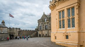 Inside the walls of the Stirling Castle in a cloudy summer afternoon, Scotland. stock photos