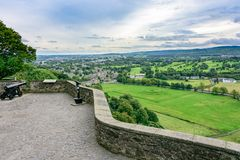 Historic Cannon in Stirling Castle, Scotland. STIRLING, SCOTLAND - AUG. 27, 2017: Historic Cannon in Stirling Castle overlooking the Stirling countryside in Royalty Free Stock Photo