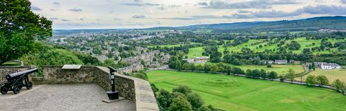 Historic Cannon in Stirling Castle, Scotland. STIRLING, SCOTLAND - AUG. 27, 2017: Historic Cannon in Stirling Castle overlooking the Stirling countryside in Stock Images