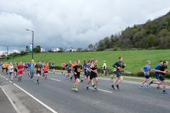 Stirling, Scotland, UK - April 29, 2018: Lead runners of the first Srirling marathon stock image