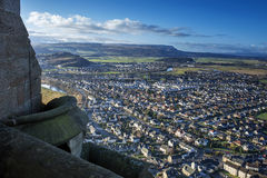Stirling from Wallace Monument in Scotland Royalty Free Stock Photos