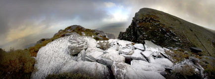Stirlings Snow Panoramic. A rare event of snow on the Stirling Ranges in Western Australia Stock Photography
