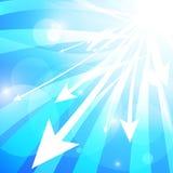 Stirpe e frecce blu astratti su fondo bianco illustrazione vettoriale
