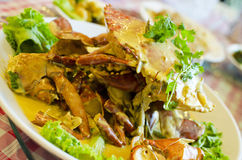 Stirred fried crab with chese and egg sauce Royalty Free Stock Photography