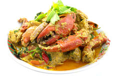Stirred Fried Crab. With Curry Powder Royalty Free Stock Photo