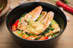 Stirred Fried crab in yellow curry Stock Image