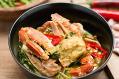 Stirred Fried crab in yellow curry Stock Images