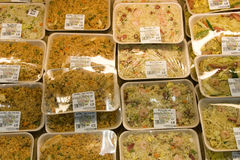 Stirred fried rice in packages Stock Image