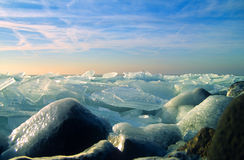 Stirred with ice. Broken ice on Ijsselmeer near Urk in Netherlands Royalty Free Stock Photo