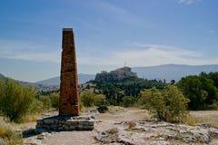 Stirrig Acropolis från Pnyxen Arkivbild