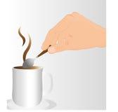 Stirring the coffee Stock Photo