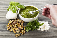 Stirring Freshly Made Pesto Sauce Stock Images