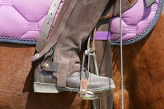 Stirrup. A riders boot in a stirrup Royalty Free Stock Photos