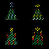 Stitch embroideries Christmas trees royalty free stock image