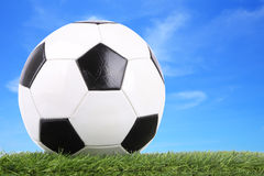 Stitch leather soccer ball on field Royalty Free Stock Image