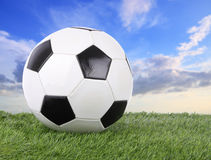 Stitch leather soccer ball on green field Royalty Free Stock Photo