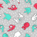 Stitch patch pattern of hand sign social gestures Royalty Free Stock Images