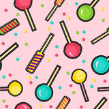 Stitch patches sweet lollipop seamless pattern Stock Images