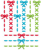 Stitch set. Set of colorful  stitches and bows Royalty Free Stock Image