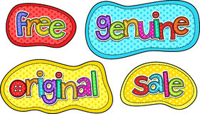 Stitch Text Labels Stock Images