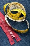 Stitch zipper on jeans Stock Image
