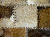 Stitched animal skins, decorative background. Natural material Royalty Free Stock Images