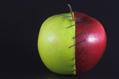 Stitched Apple. Red and green apple halves stitched together Stock Image