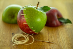 Stitched apples 02 Stock Photos