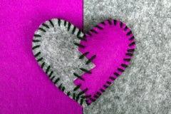 Stitched broken felt heart Royalty Free Stock Image