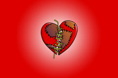 Stitched broken heart illustration Stock Images