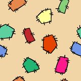 Stitched doodles patches colorful seamless pattern. Vector print vector illustration