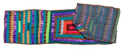 Stitched double patchwork scarf from silk isolated Royalty Free Stock Image