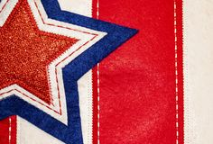 Stitched fabric background of star on stripes -Red White and Blue - Patriotic holiday background or element royalty free stock images