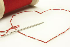 Stitched heart Royalty Free Stock Image