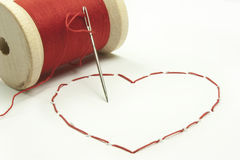 Stitched heart Royalty Free Stock Images