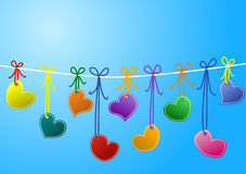 Stitched Hearts on a rope. Stitched hearts hanging on a rope, with upper space to write, and space to write names on hearts Royalty Free Stock Photos