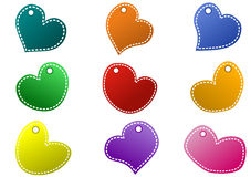 Stitched Hearts Tags. Stitched hearts shape tags or frames, craft style Royalty Free Stock Image