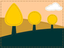 Stitched landscape. With trees and cloud vector illustration