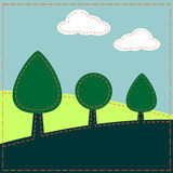 Stitched landscape with trees and clouds. Design royalty free illustration