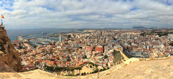 Stitched panorama of Alicante, Spain Stock Photo