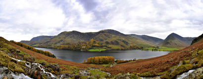 Stitched Panorama of Buttermere Lake in Autumn. Cumbria Lake District in United Kingdom Stock Image