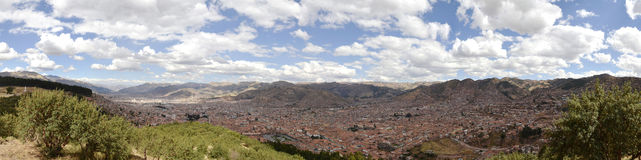 Stitched Panorama of Cuzco City Royalty Free Stock Images