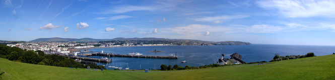 Stitched panorama of Douglas on the Isle of Man Royalty Free Stock Photos