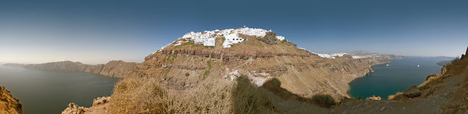 Santorini Stitched Panorama Royalty Free Stock Photography