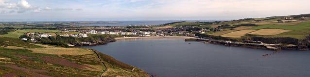 Stitched Panorama Port Erin Bay Isle of Man. Stitched Panorama of Port Erin Bay on the South of the Isle of Man Stock Photos