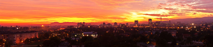 Stitched panorama of a sunset over Zagreb, Croatia Royalty Free Stock Photo