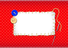 Stitched patch with buttons and needle Royalty Free Stock Image